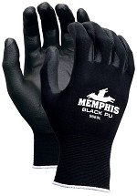 Memphis Black PU Nylon Glove Coated Palm & Reflective Fingertips-13-Gauge-Large