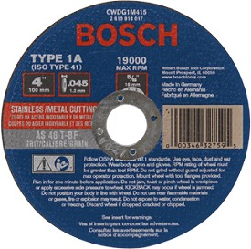 "Bosch 14"" Metal Cutting Abrasive Wheel"