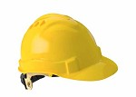 Gateway Serpent Cap Style Unvented Yellow Shell, Ratchet Suspension Safety Helmet Hard Hat - 10 pk.
