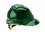 Gateway Serpent Cap Style Unvented Green Shell, Ratchet Suspension Safety Helmet Hard Hat - 10 pk.
