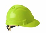 Gateway Serpent Cap Style Unvented HiVis Lime Shell, Ratchet Suspension Safety Helmet Hard Hat - 10 pk.