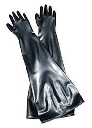 "Honeywell Butyl Glovebox Ambidextrous 30 mil gauge 8"" Cuff/Port Diameter Gloves"