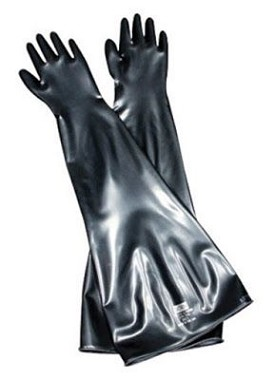 "Honeywell Butyl Glovebox Hand-Specific 30 mil gauge 6"" Cuff/Port Diameter Gloves"