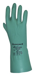 North by Honeywell Nitriguard Plus 15 Mil Gauge Green Unsupported Nitrile Gloves with Flock Interior Size M - 12 pr.