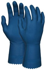 Memphis 14 mil Economy Blue Latex Canners Gloves-Scalloped Cuff-Size 8-8.5