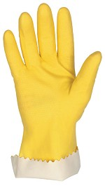 Memphis 15 mil Yellow Unsupported Latex Gloves-Scalloped Cuff-Medium