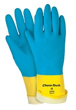 Memphis Chem-Tech 28 mil Flock Lined Unsupported Latex Gloves-Size 8