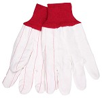 Memphis Nap-Out Double Palm Corded Cotton Blend Gloves-Red Knit Wrist-Large