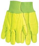 Memphis Nap-In Double Palm Corded Cotton Gloves-Hi-Vis Yellow-Large