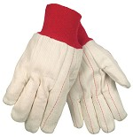Memphis Nap-In Double Palm 18oz Cotton Blend Gloves-Red Knit Wrist-Large
