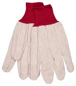 Memphis Nap-In Double Palm Corded Cotton Blend Gloves-Red Knit Wrist-Large