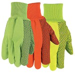 Memphis Nap-In Double Palm PVC Dotted Cotton Gloves-Hi-Vis Green-Large