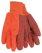 Memphis Nap-In Double Palm PVC Dotted Cotton Gloves-Hi-Vis Orange-Large