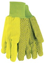 Memphis Nap-In Double Palm PVC Dotted Cotton Gloves-Hi-Vis Yellow-Large