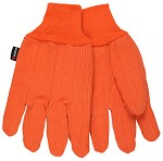 Memphis Nap-In Double Palm FR Knit Wrist Cotton Gloves-Hi-Vis Orange-Large