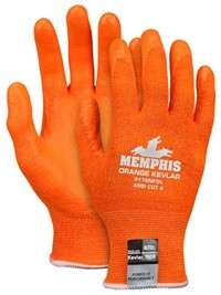 Memphis Kevlar Hi-Vis Orange Nitrile Foam Coated Kevlar Glove-13 Gauge-XXLarge