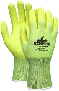 Memphis Cut Pro Hi-Vis Lime Nitrile Foam Coated HPPE Glove-13 Gauge-Medium