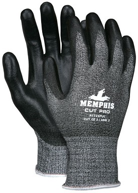 Memphis Cut Pro Black Polyurethane Coated HPPE Glove-13 Gauge-Large