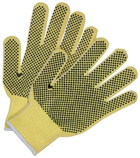 Memphis Kevlar-Cotton Regular Weight Glove-2 Sided PVC Dots-7 Gauge-Medium