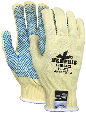 Memphis HERO Kevlar-Steel-Spandex Light Weight Glove-PVC Dots-13 Gauge-XLarge