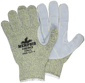 Memphis HERO Kevlar-Steel-Nylon Regular Weight Glove Leather Palm-7 Gauge-Medium