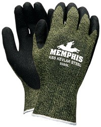 Memphis KS5 Kevlar Steel Black Textured Latex Coated Kevlar Glove-13 Gauge-XXLarge