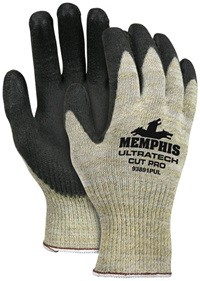 Memphis UltraTech Cut Pro Black Polyurethane Coated Kevlar Glove-10 Gauge-Small