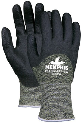Memphis Kevlar Steel Black Proprietary HPT Knuckle Coated Glove-10 Gauge-Small