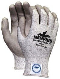Memphis Dyneema PU Gray Coated Glove-13 Gauge-Large