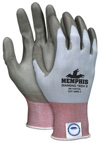 Memphis Diamond Tech 2 Light Blue Dyneema & Reflective Gray Coated Glove-21 Gauge-Medium