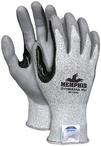 Memphis Dyneema PU Gray Coated Glove Reinforced Black Coating-13 Gauge-Large