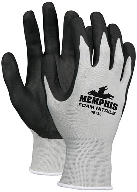 Memphis Foam Nitrile Gray Glove Black Coated Palm & Reflective Fingertips-13-Gauge-XSmall