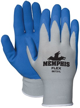 Memphis Flex Gray Glove Blue Coated Palm & Reflective Fingertips-13-Gauge-XLarge