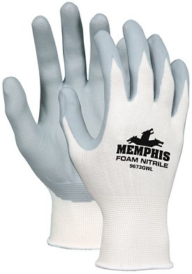 Memphis Foam Nitrile White Glove Black Coated Palm & Reflective Fingertips-13-Gauge-Large