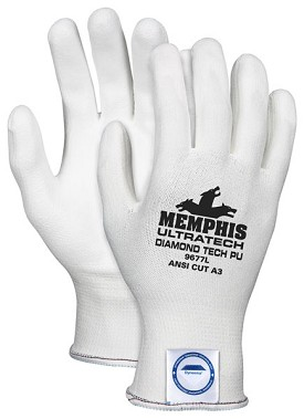 Memphis UltraTech Dyneema PU White Coated Glove-13 Gauge-Small