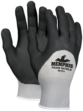 Memphis Foam Nitrile Gray Glove Black Coated Over the Knuckle-13-Gauge-XSmall