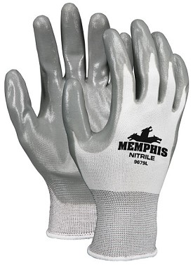 Memphis Nitrile White Glove Gray Coated Palm & Reflective Fingertips-13-Gauge-Medium