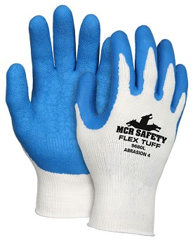 Memphis Flex Tuff Glove Blue Coated Palm & Reflective Fingertips-10-Gauge-Medium