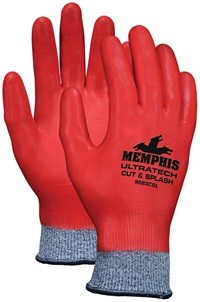Memphis Cut Pro Synthetic-Fiberglass, Red Nitrile Full Dip Glove-10 Gauge-XXLarge