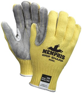 Memphis Grip Sharp Kevlar Glove Leather Palm & Reflective Reinforced Thumb-7 Gauge-Large