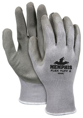 Memphis Flex Tuff II Gray Glove Gray Coated Palm & Reflective Fingertips-10-Gauge-Medium