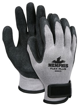 Memphis Flex Plus Glove Black Coated Palm & Reflective Fingertips-10-Gauge-Large