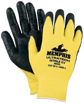 Memphis UltraTech Kevlar Black Light Nitrile Foam Coated Glove-13 Gauge-Large