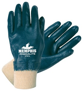 Memphis Predalite Nitrile Fully Coated Interlock Lined Glove-Knit Wrist-Large