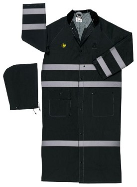 "River City Classic Plus Black 60"" Reflective Coat-Limited Flammability-5XLarge"