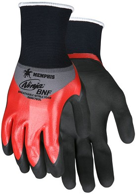 Memphis Ninja BNF Glove Coated Over the Knuckle & Reflective Palm anf Fingertips-21-Gauge-XXLarge