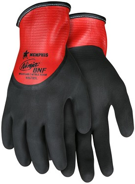 Memphis Ninja BNF Glove Coated Over the Knuckle Over Red Nitrile-21-Gauge-XXLarge