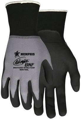 Memphis Ninja BNF Glove Coated Palm & Reflective Fingertips-15-Gauge-XSmall