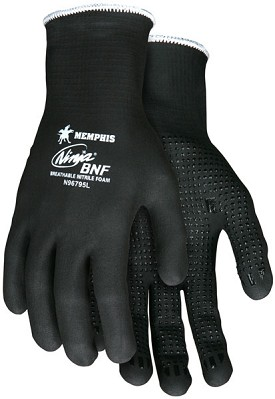 Memphis Ninja BNF Glove Black Full Dip Palm & Reflective Fingertips with Dots-15-Gauge-Large