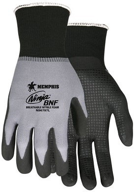 Memphis Ninja BNF Gray Glove Coated Palm & Reflective Fingertips with Dots-15-Gauge-Medium